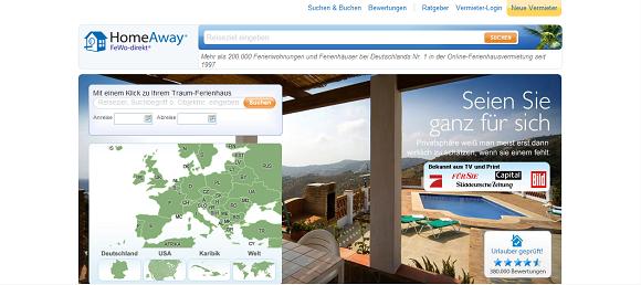 Website FeWo-direkt.de - Ferienwohnungen weltweit