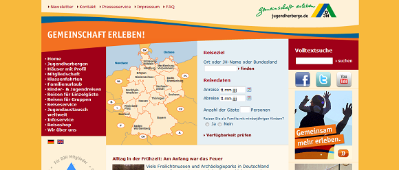 Website des Deutschen Jugendherbergverbands