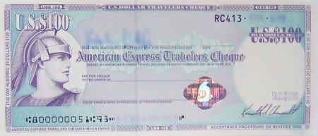 Ein Reisescheck über 100 USD von American Express © Valentin Wittich/Wikipedia