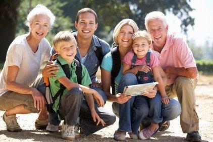 Drei Generationen zusammen im Urlaub