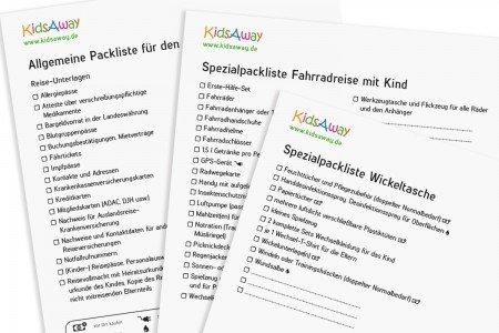 Kostenlose Packlisten für den Urlaub mit Baby und Kind © KidsAway.de