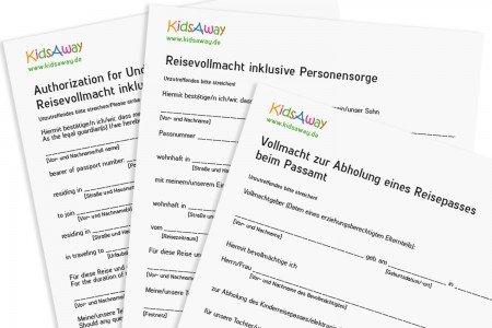 Reisevollmachten - einsprachig und mehrsprachig - für einen entspannten Urlaub in Familie © KidsAway.de