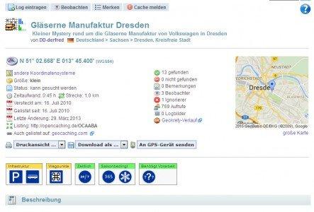 So sieht ein Cache-Listing auf www.opencaching.de aus