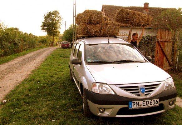Rumänien-Stanicova-Wwoofing auf dem Land-Strohtransport für den Permakulturgarten © aeroh