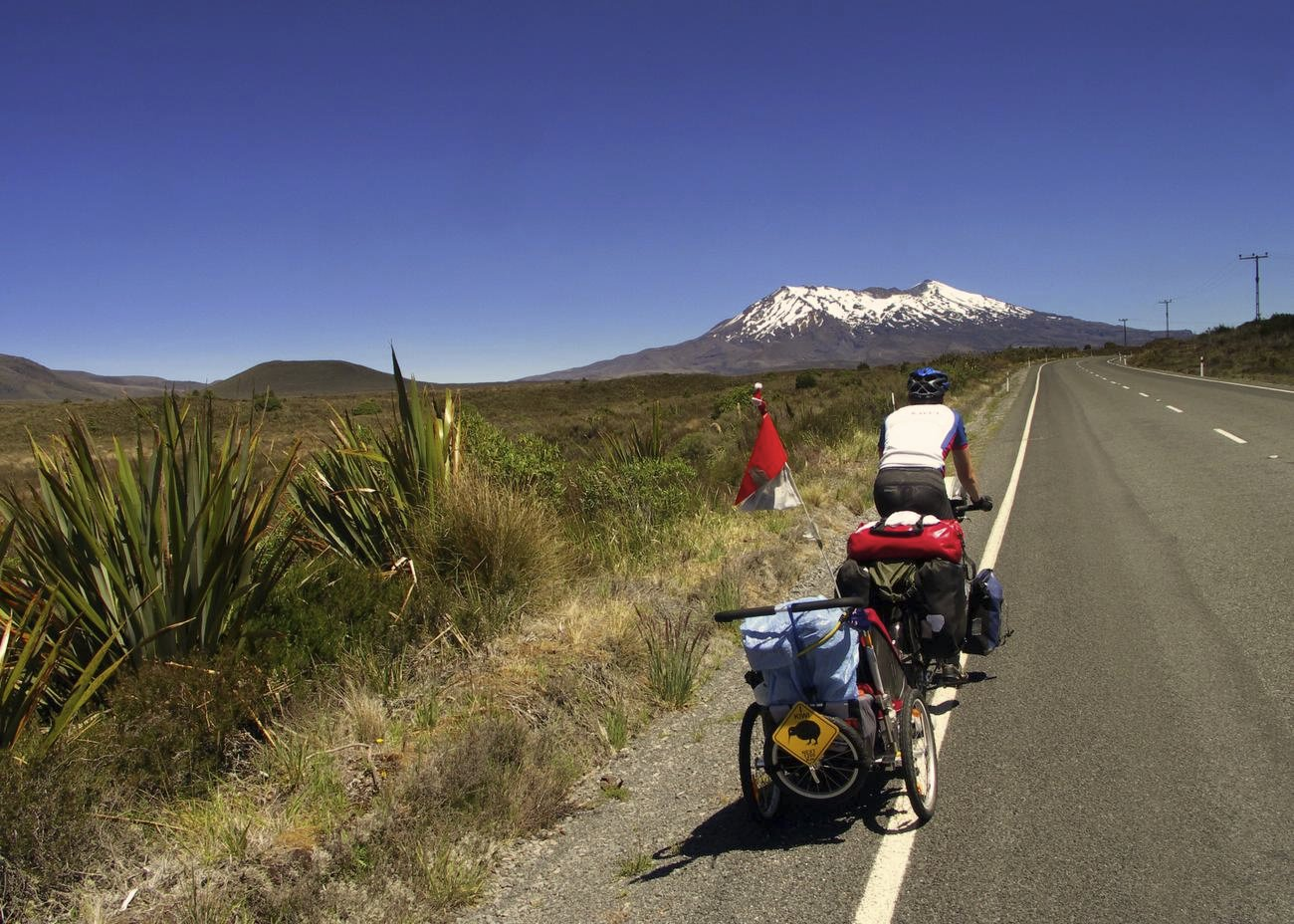 Im Fahrradanhänger durch Neuseeland © Axel Raßbach