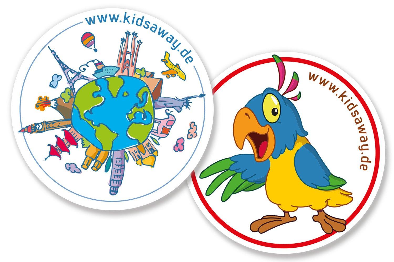 Die KidsAway-Kofferaufkleber verschönern euer Reisegepäck © KidsAway.de