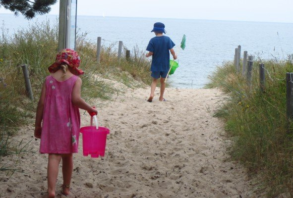Auf dem Weg zum Strand