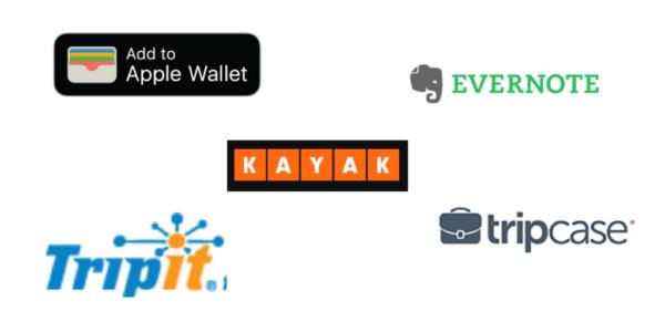 Apps Reiseunterlagen Evernote Kayak Wallet TripIt TripCase