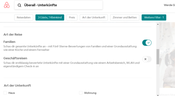 Airbnb Familienfilter