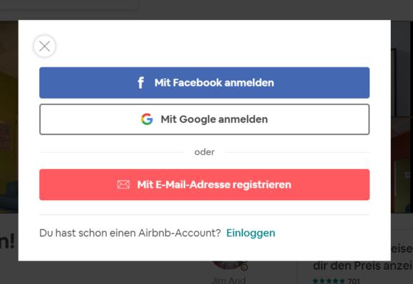Registrierung bei Airbnb